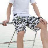 雙12八折大促沙灘褲寬鬆速干男士沙灘褲運動五分花短褲休閒褲大褲衩馬褲男潮夏天睡褲
