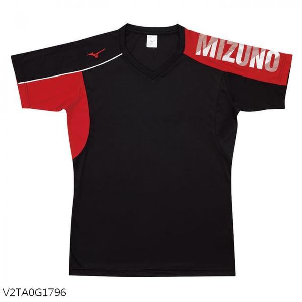 MIZUNO 男裝 女裝 短袖 排球 羽球 吸汗快乾 合身版型 珊瑚綠【運動世界】V2TA0G1796