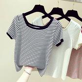 針織上衣 短袖T恤女春夏新款韓版修身一字領條紋冰絲針織衫上衣打底衫 交換禮物