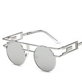 圓臉太陽鏡彩膜金屬墨鏡 個性風格太陽眼鏡【五巷六號】y66