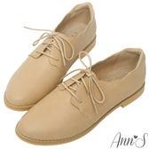 Ann'S 甜美學院-波浪花邊素色牛津鞋-杏
