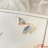 925銀針耳環新款ins潮葉子原創設計時尚鍍金耳釘耳夾【CH伊諾】