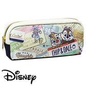 【日本進口正版】奇奇蒂蒂 米色款 帆布 筆袋 鉛筆盒 收納包 迪士尼 Disney - 465519