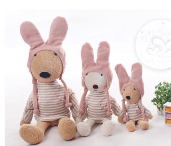 娃娃屋樂園~Le Sucre法國兔砂糖兔(粉紅條杉帽T款)90cm990元另有30cm45cm60cm120cm