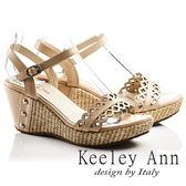 ★零碼出清★Keeley Ann設計美學~鏤空小花朵編織全真皮楔形涼鞋(卡其色)