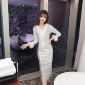 女性感新款性感V領亮片毛毛修身氣質開叉包臀連身裙 居享優品