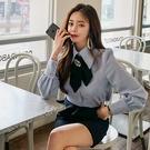 歐媛韓版 春裝新款女時尚設計感洋氣韓國襯衫 OL職業長袖修身心機上衣潮