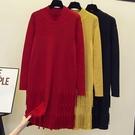 針織連身裙XL-4XL實拍大碼女裝2020冬裝新款洋氣針織連身裙胖妹妹寬松打底毛衣裙子MB154.1號公館