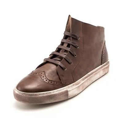真皮中筒靴-綁帶巴洛克雕花復古做舊男靴子2色73kk11[巴黎精品]