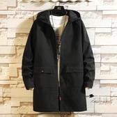 風衣外套 男士春秋季新款連帽青年寬鬆大碼青年休閒上衣夾克衫