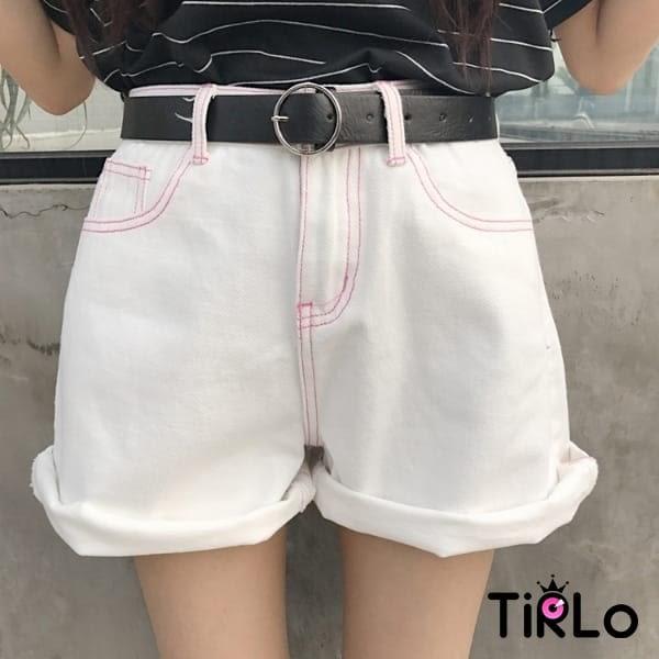 牛仔短褲 -Tirlo-推薦!不修邊捲邊牛仔短褲-兩色/SML