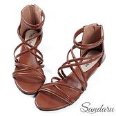 涼鞋 線條交叉拉鍊羅馬楔型鞋-棕