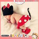 童裝 嬰兒攝影寫真紅色米妮帽+包屁褲+襪套 套裝