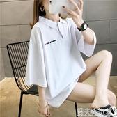 。韓版寬鬆百搭短款學生七分7分中袖T恤女衫九分短袖上衣服b 「錢夫人小鋪」