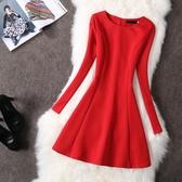 紅色洋裝 2018新款顯瘦紅色長袖大碼連身裙秋冬打底赫本