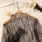 透視上衣 黑色高領蕾絲打底衫女薄款鏤空內搭紗衣透視洋氣內襯長袖網紗上衣-Ballet朵朵