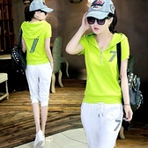 運動套裝 莫代爾95棉運動跑步潮牌套裝女夏季休閒短袖七分褲運動休閒兩件套