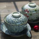 和風四季日式餐具釉下彩泡面碗帶蓋陶瓷碗帶蓋瓷碗手繪大蓋碗禮盒【潮咖地帶】