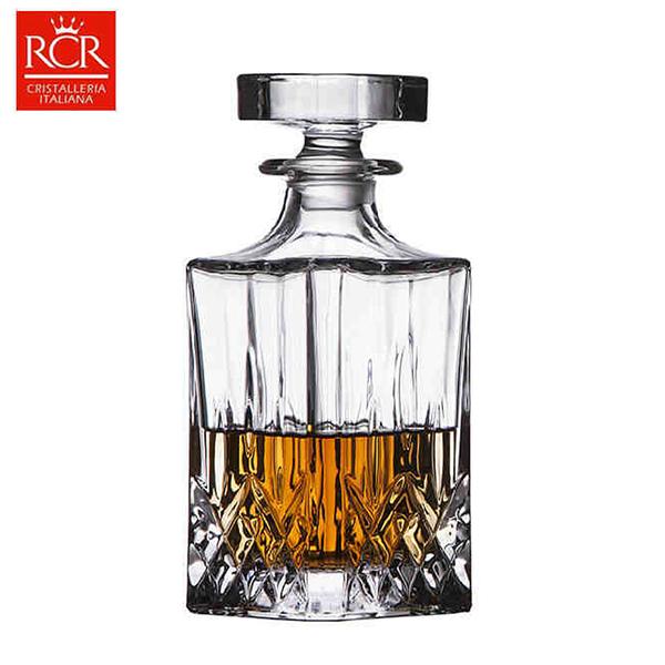 義大利RCR Opera 方形水晶雕花酒瓶 750mL 酒樽 水晶玻璃 酒器 床頭瓶