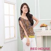 RED HOUSE-蕾赫斯-豹紋雪紡兩件式上衣(豹紋咖) 零碼出清,滿499元才出貨