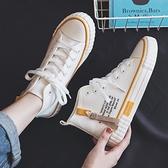 高筒鞋 2020夏季新款透氣高筒帆布潮鞋女小白百搭學生爆款板鞋潮白鞋