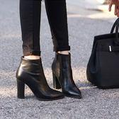 粗跟女靴高跟鞋尖頭短靴短筒馬丁靴性感百搭女靴