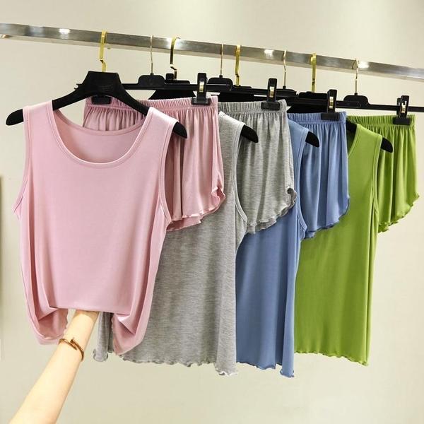 2020韓版夏季吊帶短褲兩件套女薄大碼睡衣寬鬆莫代爾居家背心套裝