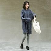 長袖洋裝-圓領寬鬆麻花針織連身裙2色73xm37【時尚巴黎】