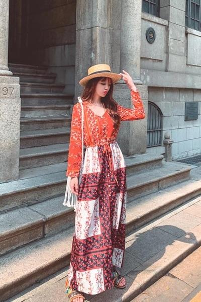 洋裝度假波西米亞異域風情度假拼接印花開叉圓領收腰連身裙開衫NE603B依佳衣