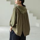 純棉連帽長袖衛衣 繫帶純色頭套寬鬆上衣/5色-夢想家-0917
