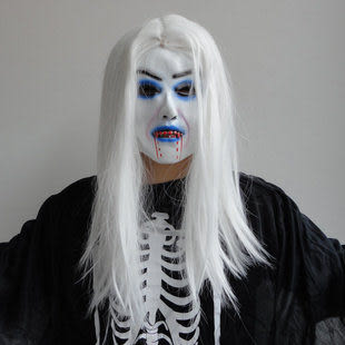 萬聖節面具化妝舞會面具派對用品道具 白發魔女 長流血158g