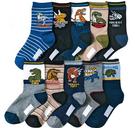 [韓風童品](10雙/組)棉質男童襪 恐龍圖案棉襪  兒童百搭休閑襪 中童棉質襪子 兒童薄棉短筒襪子