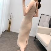 吊帶裙 針織洋裝女秋修身性感外穿中長款小眾洋裝內搭氣質吊帶背心裙 TB