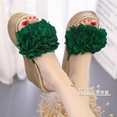 厚底楔形-夏季新款韓版涼鞋一字厚底楔形超高跟拖鞋鬆糕厚底女鞋外穿涼拖潮