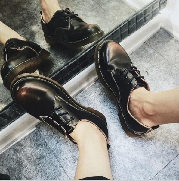 找到自己品牌 新品男士 簡約擦色做舊 情侶款36-44 牛筋底 大頭鞋 休閒鞋
