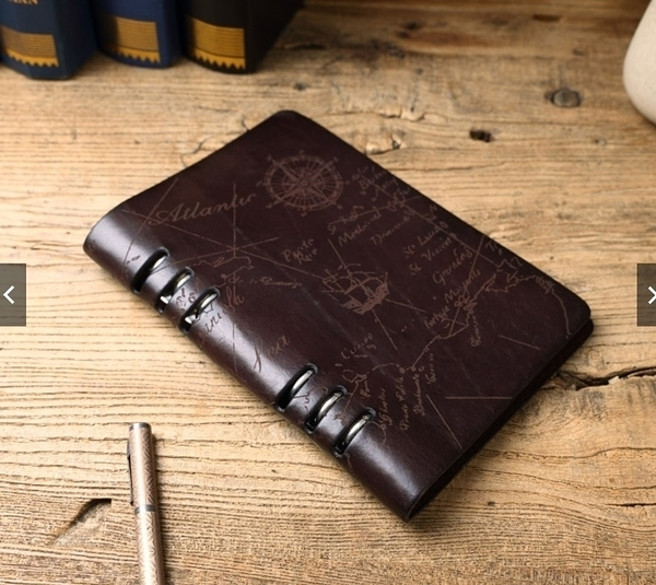 【Solomon 原創設計皮件】手工牛皮活頁手札 地圖壓紋筆記本