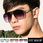 OT SHOP太陽眼鏡‧歐美系方框形造型雷朋太陽眼鏡‧大臉形適合簍空金屬鏡框‧高質感網狀設計‧U23
