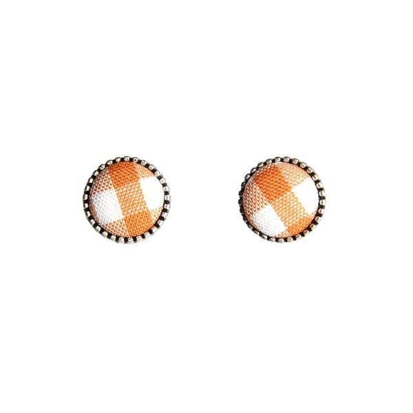 韓國禮飾品 CLUE 橘色格子耳環組