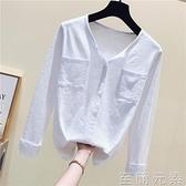 竹節棉長袖 年新款早秋裝竹節棉長袖t恤女v領大碼寬鬆白色韓版打底衫上衣
