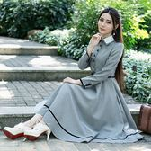 洋裝 復古文藝英倫長袖套頭休閒日常連身裙 迪澳安娜