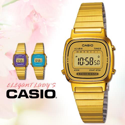 CASIO手錶專賣店 卡西歐 LA670WGA-9D F 女錶 電子錶 壓克力玻璃 鬧鈴 不鏽鋼錶帶 可調式錶帶扣