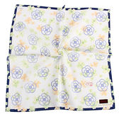 CLATHAS 經典滿版山茶花純綿領巾(藍色)989265-2