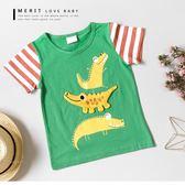 純棉 童趣立體拼布鱷魚塗鴉短T 上衣 拼接條紋袖 美式 竹節棉 短袖 男童【哎北比童裝】