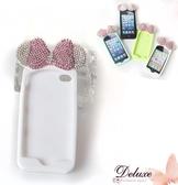 ☆Deluxe☆時尚新潮~水鑚蝴蝶結+軟矽膠 iphone5專用手機殼★白
