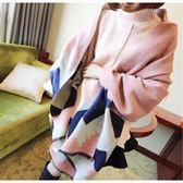 📢現貨供應📢秋冬季新款韓版加長款加厚菱形格子女士仿羊絨披肩圍巾兩用