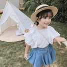 女童夏款蕾絲上衣牛仔短裙套裝