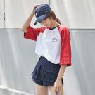 短袖T恤 涼感ins超火學生拼色半袖T恤女新款韓版寬鬆百搭上衣潮-樂購