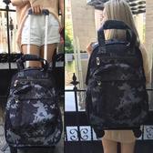 新款雙肩拉桿背包旅行包帶輪子超輕可拆萬向輪學生書包防水行李袋