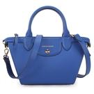 Longchamp經典Le Pliage硬皮革兩用小水餃包(寶藍色)480600-127