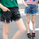 衣童趣↘中大女童 夏季 牛仔毛邊 短褲 韓版暢銷 熱賣款休閒褲